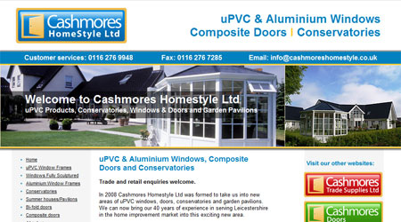 A screenshot of the Cashmores Homestyle Website