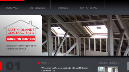 A screenshot of the East Midlands Contracts Website