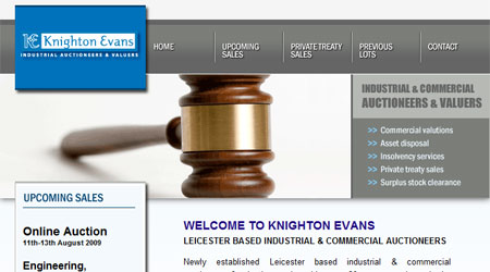 A screenshot of the Knighton Evans Auctioneers Website