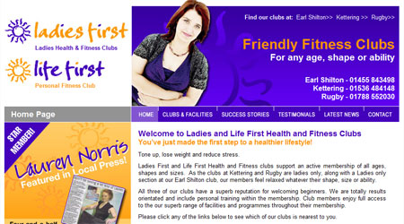 A screenshot of the Ladies First Fitness Website