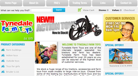 A screenshot of the Tynedale Farm Toys website